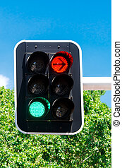Red and green traffic lights against blue sky backgrounds