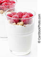 Raspberry desert in glass vertical - Raspberry desert in...