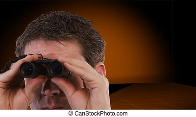 Businessman looking through Binoculars with sales Graph in...