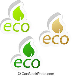 Set of eco friendly signs.