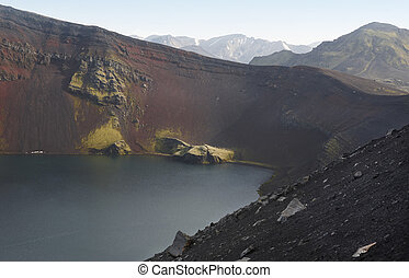 Iceland. South area. Fjallabak. Ljotipollur crater. Volcanic...