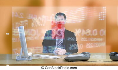Businessman looking at sales results on his computer