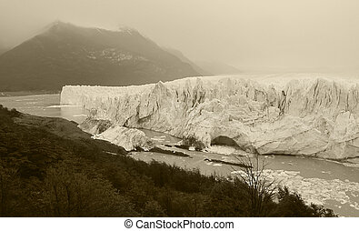 Patagonian landscape with lake and glaciers. Horizontal