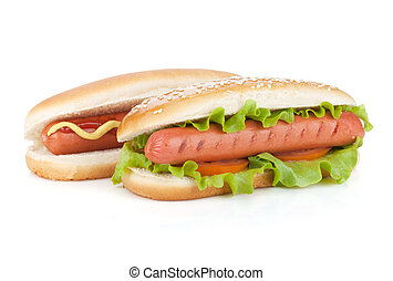 Two hot dogs with various ingredients Isolated on white...