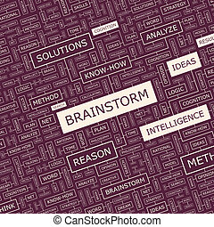 BRAINSTORM. Background concept wordcloud illustration. Print...