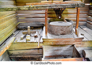 old water mill - inside a traditional romanian watermill