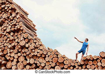 challenge - man on top of large pile of logs with hand...