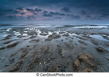 low tide on North sea, Friesland, Netherlands