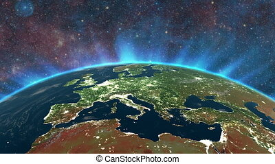 Highly detailed sunrise in space. Europe city lights
