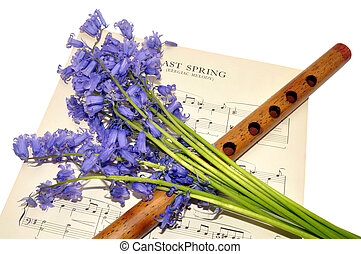 Sheet Music And Bluebell Flowers - Paper music sheet with a...