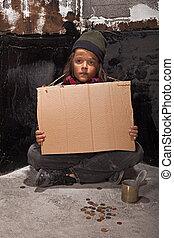 pobre, mendigo, Menino, rua, papelão, sinal