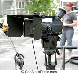 stand hd-camcorder on nature - stand high-definition camera...