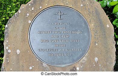 Stockport Air Disaster Memorial - Metal memorial plaque...