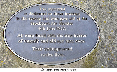 Stockport Air Disaster Memorial - Metal memorial plaque...