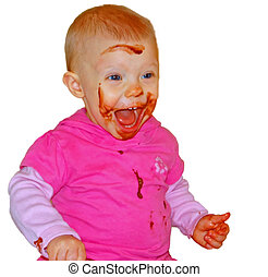 Cute Baby Eating Chocolate Pudding - This cute Caucasian...