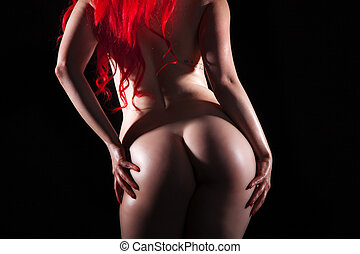 red hair shows amazing ass - Nude woman with red hair shows...