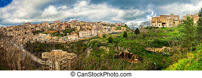 panoramic view of the town Enna, Sicily - panoramic view of...