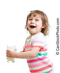 Happy kid drinking milk from glass Isolated