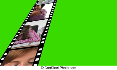 Film Reel of Footage on against a Green Screen