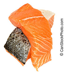 Fresh Raw Salmon Steaks - Two fresh raw pink salmon steaks,...