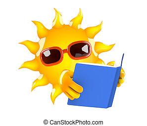 3d Sun reader - 3d render of the sun reading a book
