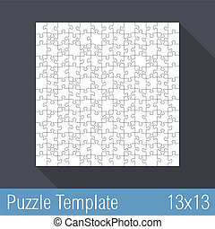 Puzzle Template 13x13 - Square jigsaw puzzle template 13x13...