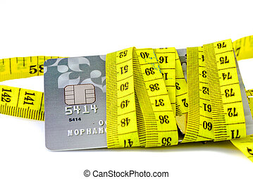 credit card in measuring tape, money concept