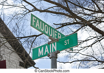 Street sign in The Plains, Virginia - A street sign that...