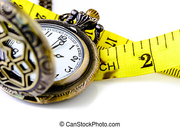 Pocket watch with Measure tape isolated on white, time limit concept