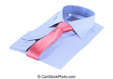Necktie on a shirt under the white background