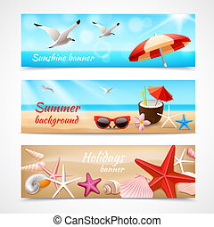 Summer holidays labels - Summer holidays beach labels with...
