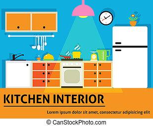 Kitchen interior poster - Kitchen interior modern home food...
