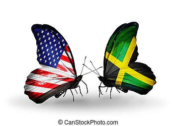 2, 蝶, 旗, 翼, シンボル, 関係, アメリカ,...