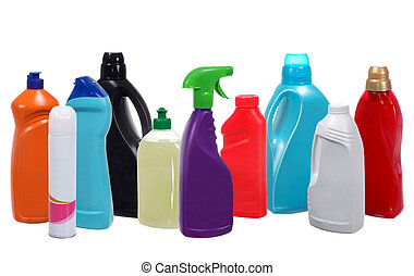 Many different plastic bottles of cleaning products isolated...
