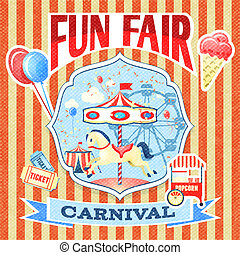 Vintage carnival poster template - Vintage carnival fun fair...