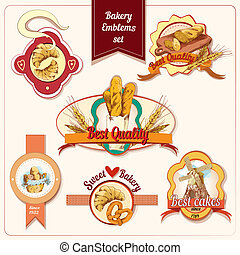 Bakery emblems set - Best quality sweet bakery bread and...