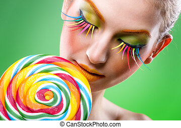 Colorful twisted lollipop, colorful fashion makeup