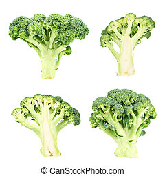 Cutaway and whole green broccoli isolated over white...