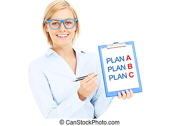 Businesswoman with plan A and plan B - A picture of a young...