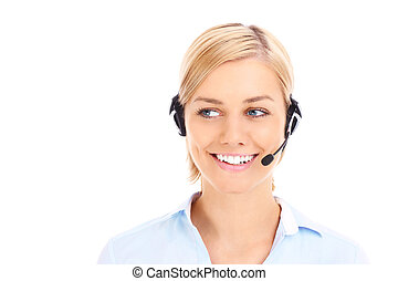 Pretty teleworker - A picture of a happy teleworker looking...