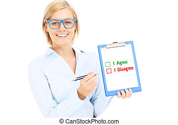Businesswoman making decision - A picture of a young...