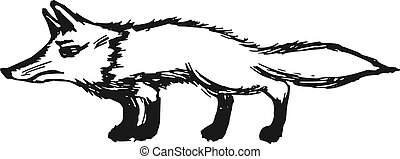 red fox - hand drawn, sketch, cartoon illustration of red...