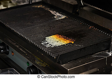 dirty kitchen grill - dirty electrical grill in real...
