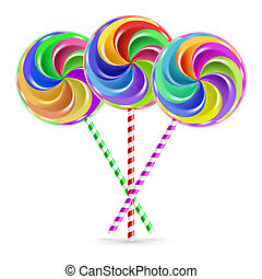 Three lollipops - The colorful lollipops on striped sticks...