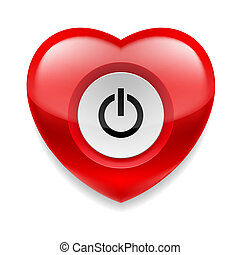 Heart with powe button - Shiny red heart with power button...