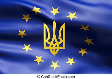 Flag of Europe with coat of arms of Ukraine inside