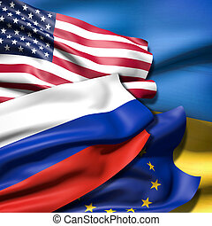 Flags of Ukraine, European Union, Russia and Ukraine - Flags...