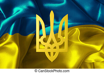 Ukraine flag with a coat of arms