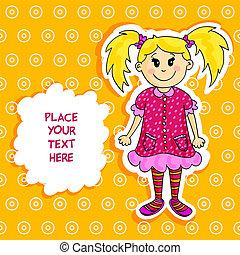 Little blond girl card