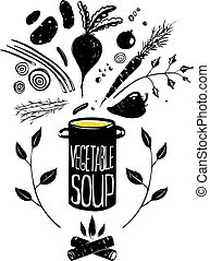 Cooking Vegetable Soup Food in Black - Food illustration in...